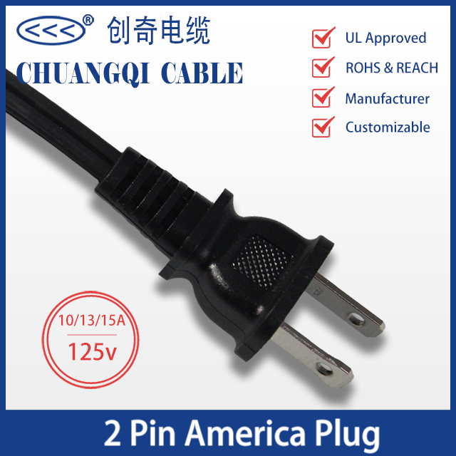 2 Pin America Plug US Canada Power Cord with Cable UL Certification Approved