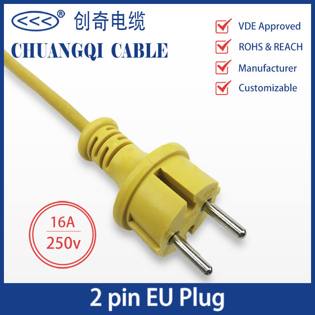2 Pin EU Plug European Power Cord with Cable VDE Approved