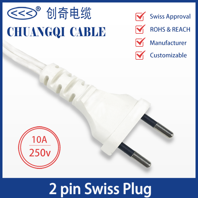2 Pin Swiss Plug Power Cord with Cable