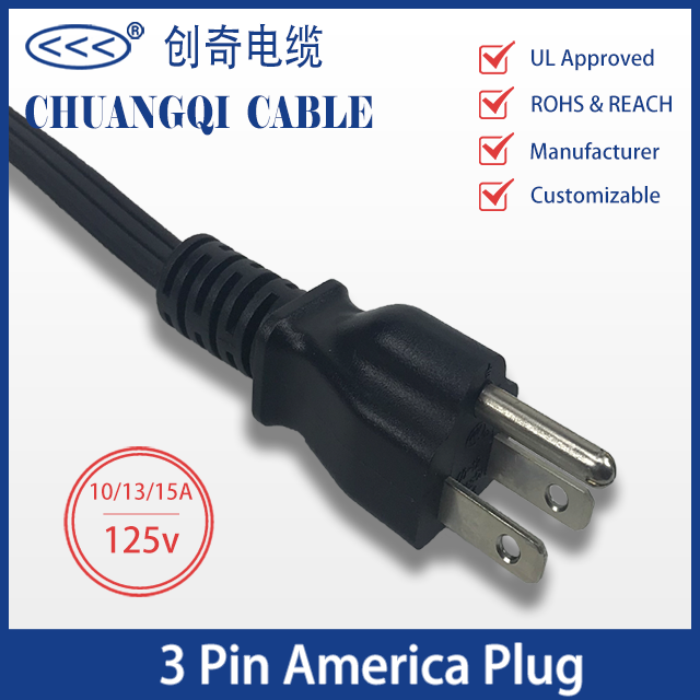 3 Pin America Plug US Canada Power Cord with Cable UL Certification Approved