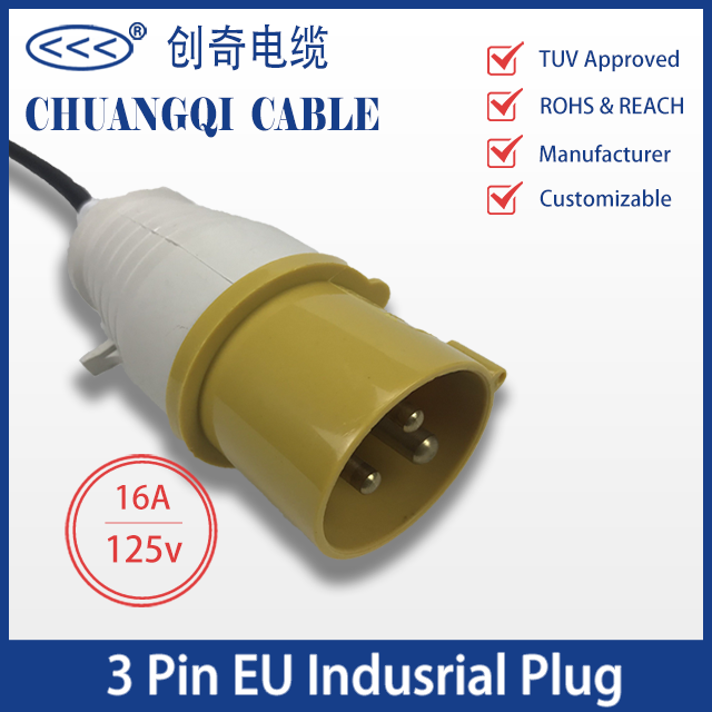 3 Pin EU Industrial Plug European Power Cord with Cable VDE Certification Approved