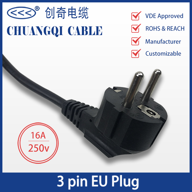 3 Pin EU Plug European Power Cord with Cable VDE Approved