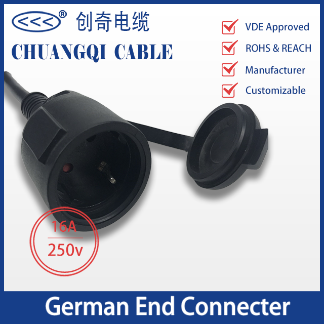 German End Connector with Cable VDE Certification Approved